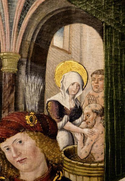 Postkarte: Elisabeth wäscht einen Aussätzigen